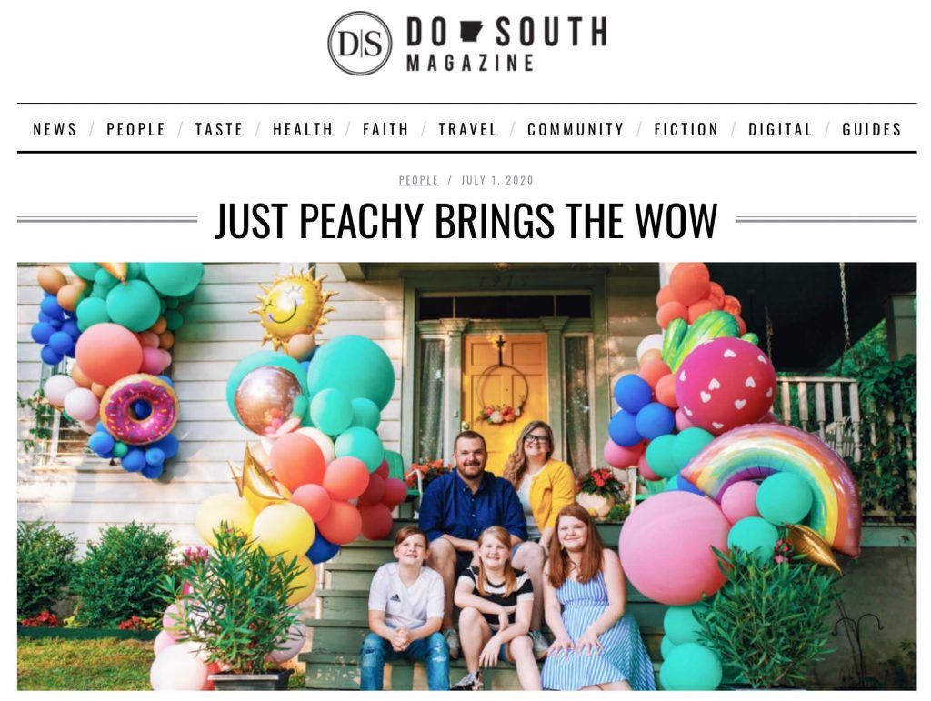Christen Byrd, owner of Just Peachy, and her family as pictured in Do South Magazine.