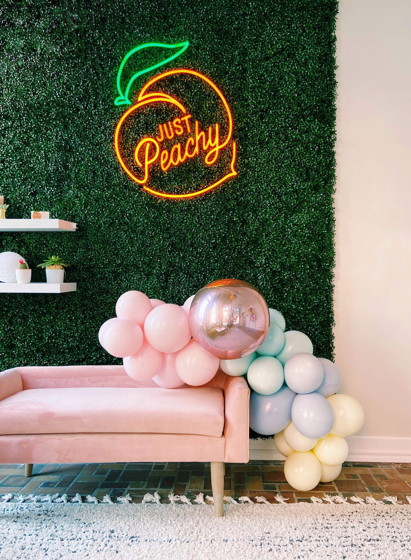Perfect pastels make this balloon garland the sweetest addition to your party, from Just Peachy in Little Rock, Arkansas.