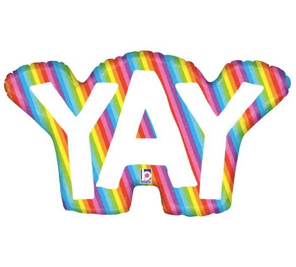 Product image for mylar helium balloon, the word YAY with rainbow edge, 34 inches tall, from Just Peachy in Little Rock, Arkansas.