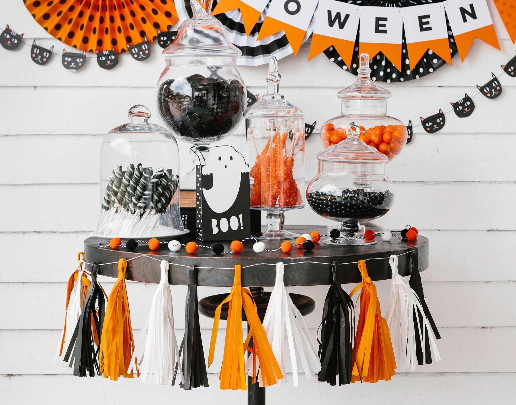 Halloween tassel garland from Just Peachy party supplies in Little Rock