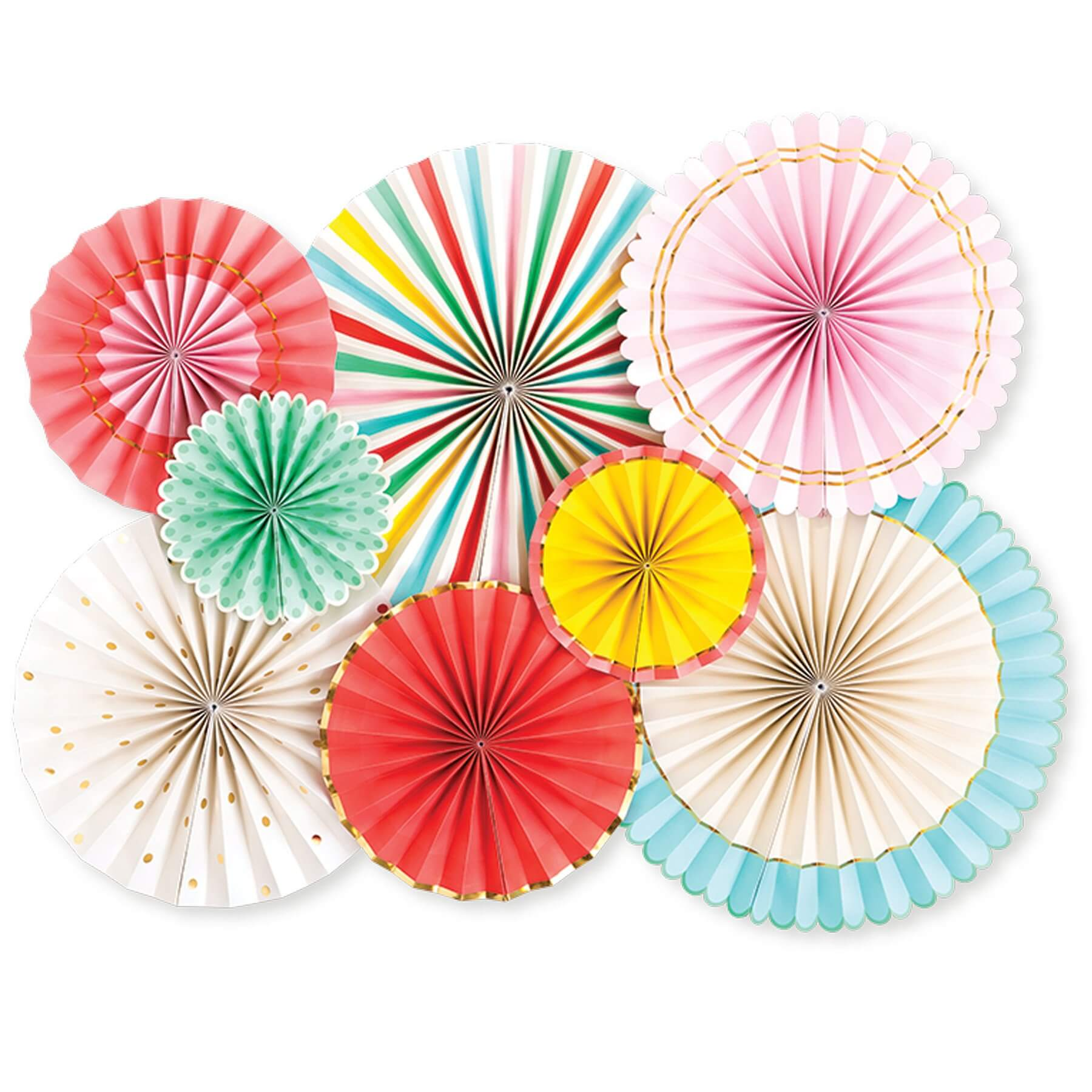 Multi-colored party fan decoration from My Mind's Eye sold by Just Peachy