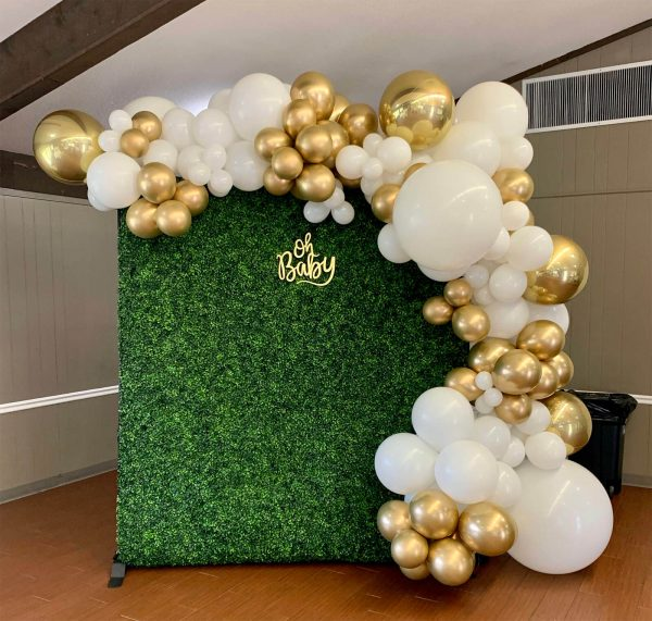 Rentable Boxwood Wall with Balloon Half Wrap from Just Peachy in Little Rock.