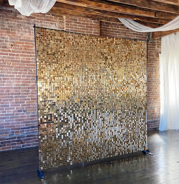 Gold sequin shimmer backdrop for events; available to rent from Just Peachy.
