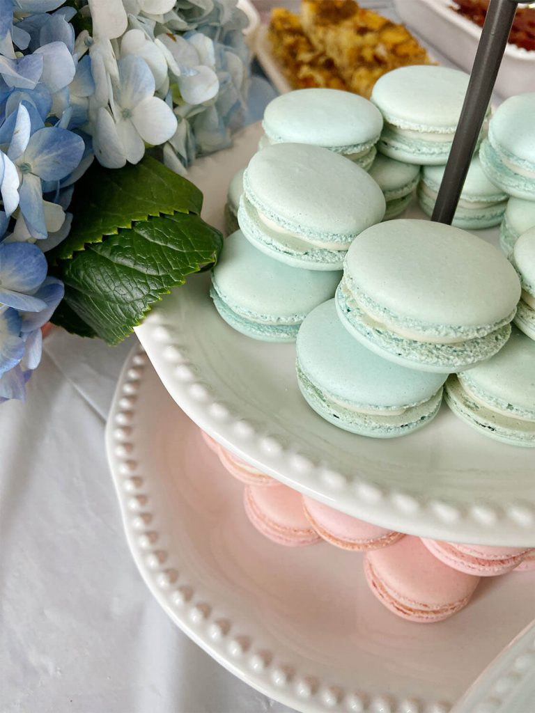 Blue and pink custom macarons for a party planned by Just Peachy.